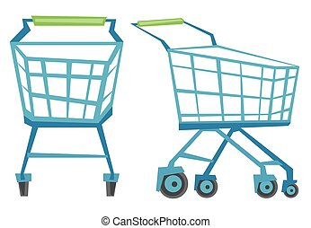 Empty shopping carts vector illustration - Empty shopping...