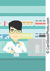 Pharmacist writing prescription - An asian young male...