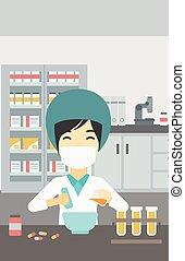 Pharmacist preparing medication - Asian female pharmacist in...