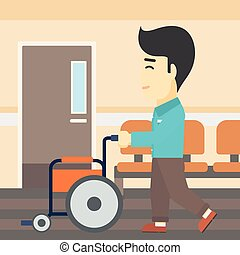 Man pushing wheelchair vector illustration - An asian young...