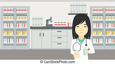 Pharmacist giving pills and glass of water. - Asian young...