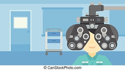 Patient during eye examination vector illustration - Man...