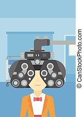 Patient during eye examination vector illustration - An...