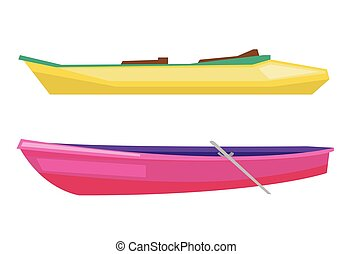 Rowing boat with paddles and canoe. - Rowing boat with...