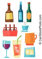 Various glasses and bottles of beverages. - Various glasses...