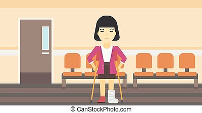 Woman with broken leg and crutches - An asian injured woman...