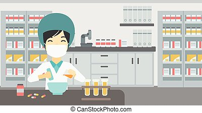 Pharmacist preparing medication. - Asian female pharmacist...
