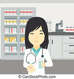 Pharmacist giving pills and glass of water. - An asian young...