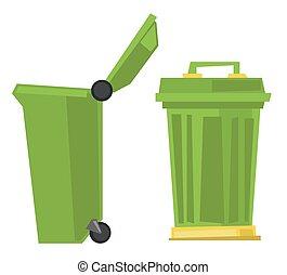 Large trash cans vector illustration.