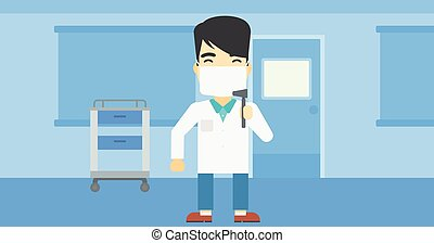 Ear nose throat doctor vector illustration. - An asian male...