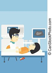 Patient during ultrasound examination - An asian doctor...
