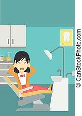 Scared patient in dental chair vector illustration - An...