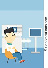 Male ultrasound doctor vector illustration. - An asian male...