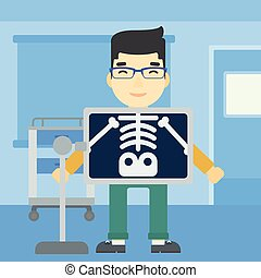 Patient during x ray procedure vector illustration - An...