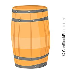 Wooden barrel vector illustration - Big round wooden barrel...