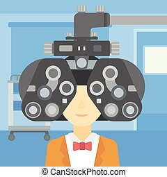 Patient during eye examination vector illustration - Woman...