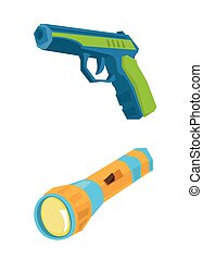 Pistol and flashlight vector illustration - Pistol and...