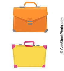 Suitcase and leather briefcase vector illustration -...