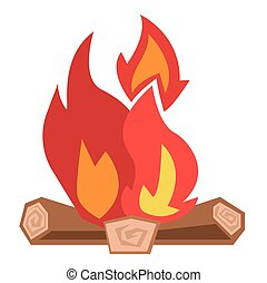 Camp fire vector illustration. - Camp fire burning brightly...