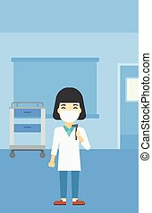 Ear nose throat doctor vector illustration. - An asian...