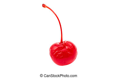 maraschino cherry on a white background