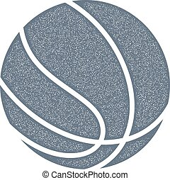 Basketball. Vintage style. Monochrome image of a basketball with grunge texture on white