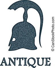 Vector illustration of the ancient Greek bronze helmet with a grunge texture on white