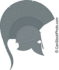 Monochrome Illustration of the ancient Greek helmet with a...
