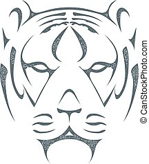 Sketch black silhouette of tiger head isolated on white background. Stock vector illustration.