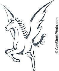 Grunge sketch of a flying pegasus, isolated on white background. Unicorn. Stock vector illustration.