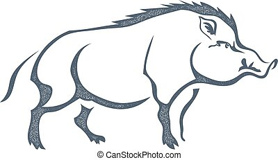 Sketch grunge wild boar in the profileStock vector...
