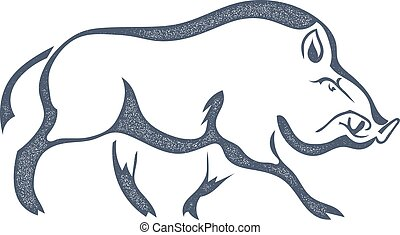 Sketch grunge black wild boar in the profile Stock vector...