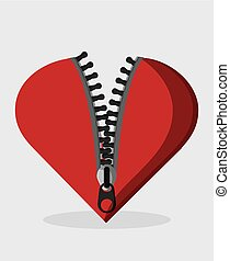Zip zipper heart cloth metal teeth icon. Isolated and flat...