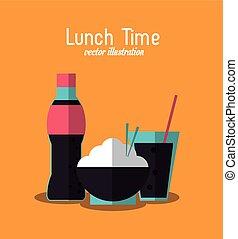 soda rice coke lunch time menu icon, vector - soda rice coke...