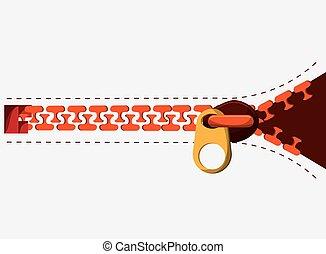 Zip orange zipper one cloth teeth icon. - Zip zipper orange...