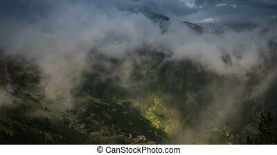 4K, Time Lapse, Clouds And Fog Over Vallon Du Lagon At Fort...