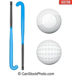 Two classic sticks and balls for field hockey - Two classic...