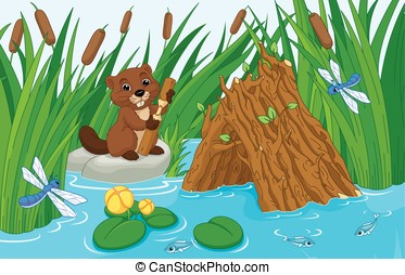 Beaver Lodge - Illustration of a beaver hut on the pond with...