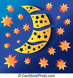 half moon - background with half moon and stars, vector...