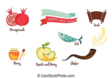 symbols of Rosh Hashanah, Jewish new year vector...