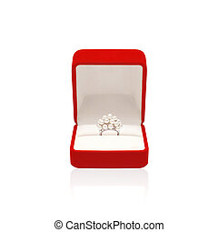 Luxury ring with pearl in red box isolated on a white...