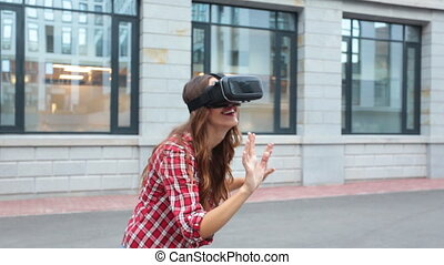 Woman using a virtual reality device