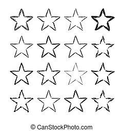 Star icons grunge set