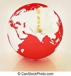 Global Banking concept. 3D illustration. Vintage style.