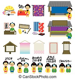 Kimono shops in Japan's Edo era, Japanese version, vector...