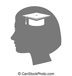 Isolated female head silhouette icon with a graduation cap