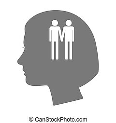 Isolated female head silhouette icon with a gay couple pictogram