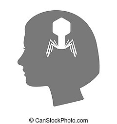 Isolated female head silhouette icon with a virus