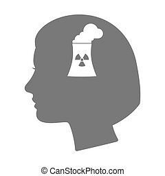 Isolated female head silhouette icon with a nuclear power...
