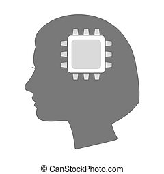 Isolated female head silhouette icon with a cpu -...